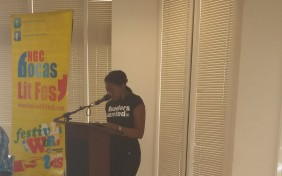 Me reading at the WUTT event.